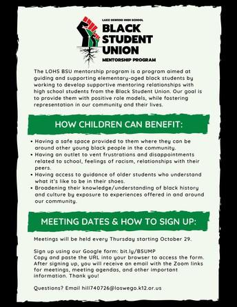 Black Student Union Mentorship Program