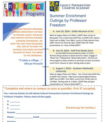 Summer Enrichment Program K-7th grade