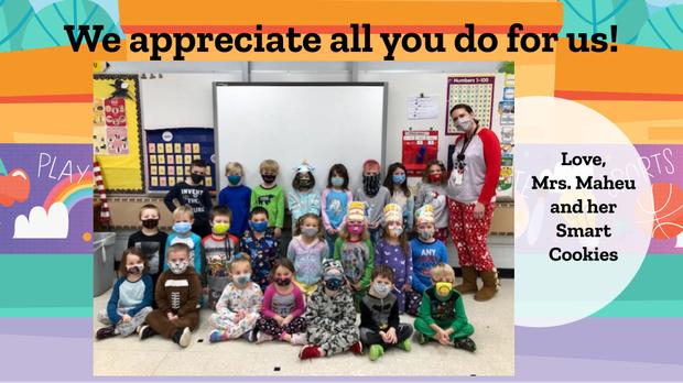 Thank You Slide & Photos - Maple KDG Teacher Mrs. Maheu and Students