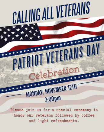 Please Share Pictures of Your Veterans With Us by Friday, November 9th