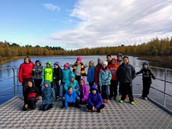 Students pose for a picture while visiting Cedar Creek Reserve.