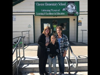 Superintendent Oestreich posing for a picture with an outstanding CES 4th grader and her mom!
