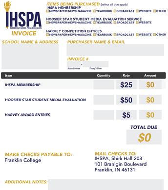 IHSPA Fillable PDF Invoice
