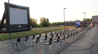 Drive-In Movie Screen and Graduate Seating