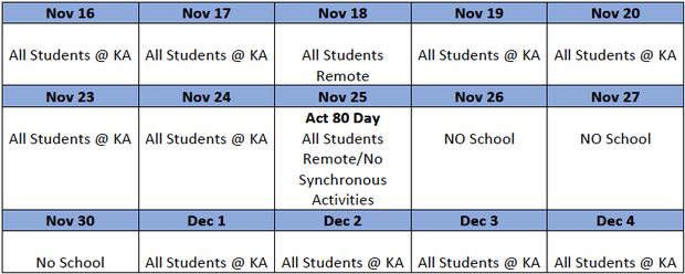 Upcoming Kindergarten Schedule