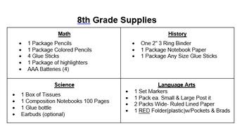 8th grade class specific supplies