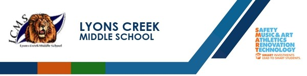 A graphic banner that shows Lyons Creek Middle School's name and SMART logo