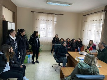 Our Club President Selin, club members and Principal as Selin explains about the activity