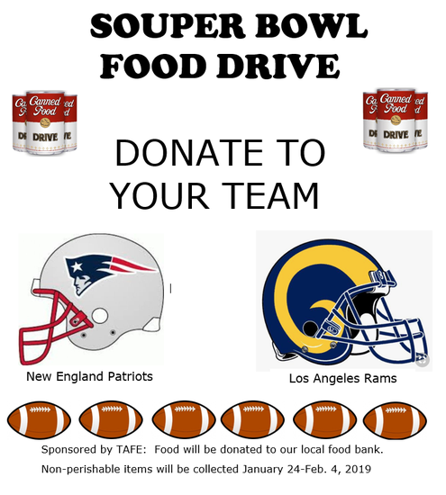 "image promoting tafe ""souper bowl"" food drive"