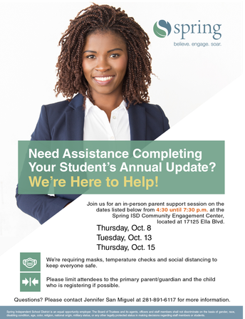 Need Help Completing Your Annual Update? Join an In-Person Parent Session!