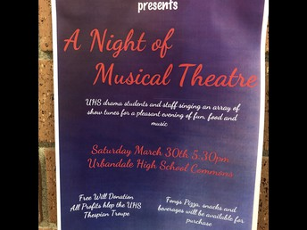 "UHS Drama Department hosts ""A Night of Musical Theatre"" on Saturday!"