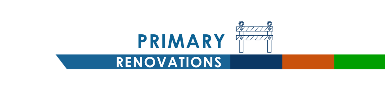 A graphic banner that is titled Primary Renovations