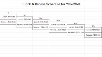 Lunch/Recess Staggered Schedule
