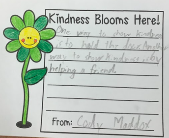 Kindness Blooms Here - show kindness by holding the door open for a friend.