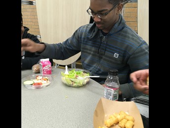 Brandon breaking the mold with a salad at lunch