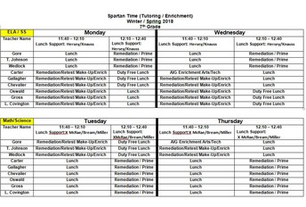 7th Grade Tutoring Schedule
