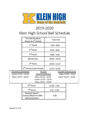 NEW SCHOOL HOURS FOR 2019-2020!