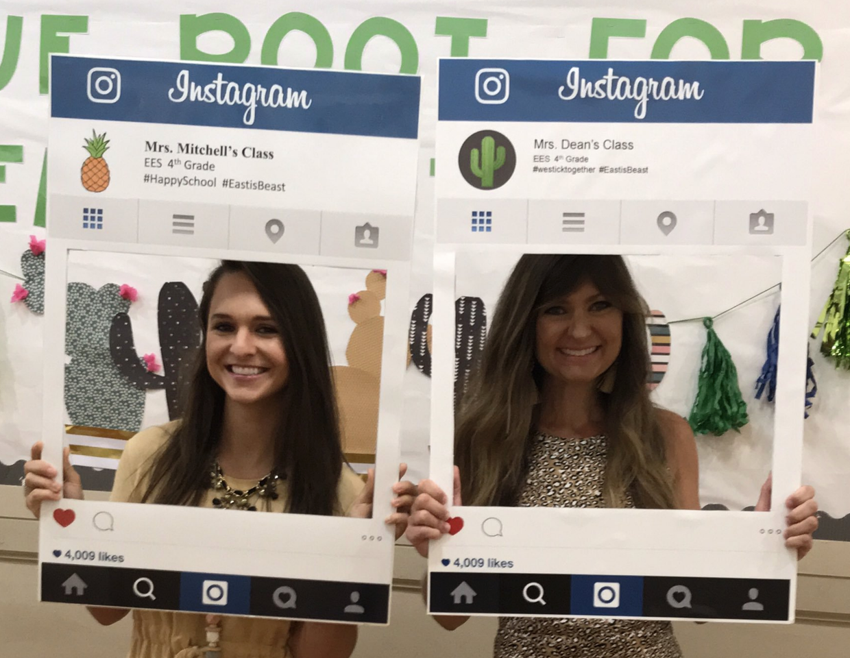 EES teachers in large instagram cut-out frames