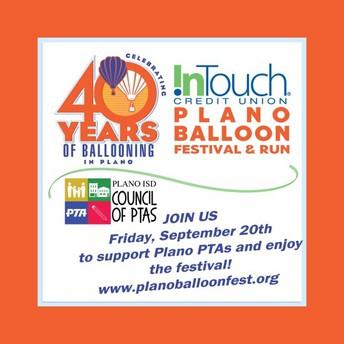 PTA SPEAKERS NEEDED FOR BALLOON FESTIVAL, SEPTEMBER 20TH