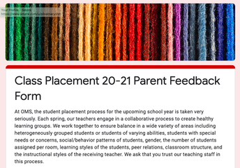 20-21 Class Placement Parent Feedback Form