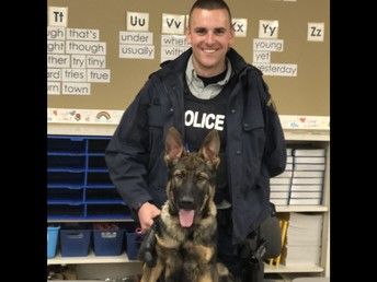 Constable King and his young police dog in training, Leo