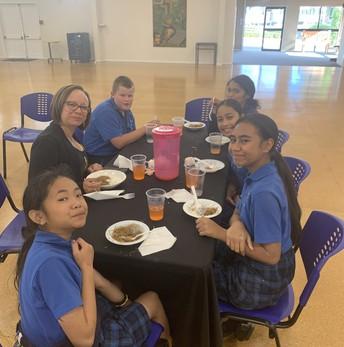 Enjoying a traditional Samoan lunch