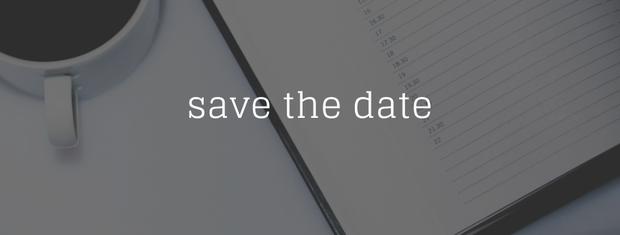 Save the date.  Image of coffee mug and calendar.