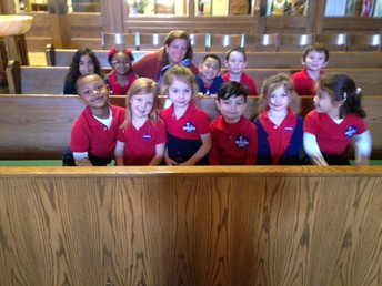 Our Kinder Scholars receiving a special tour of the Church by Mrs. Ellen Chouke