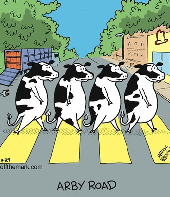 Did you know that cows crossed Abbey Road every time they heard Maxwell's Silver Hammer?