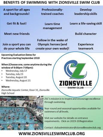 Zionsville Swim Team evaluations begin July 17