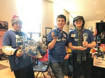 Robotics team at a competition
