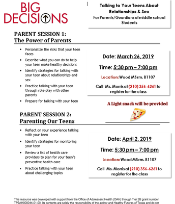 Big Decisions Workshops for Middle School Parents