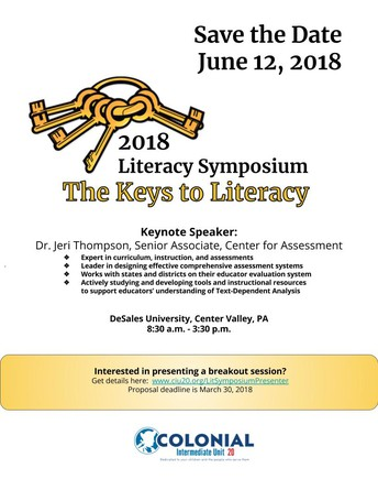 SAVE THE DATE-2018 LITERACY SYMPOSIUM
