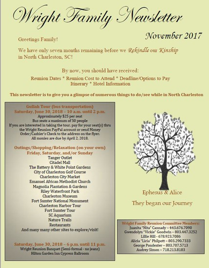 Smore Newsletters: Wright Family Reunion