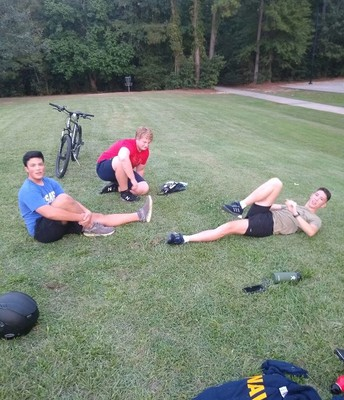 "Shooting Team kids doing ""yoga"" at Terramont Park"