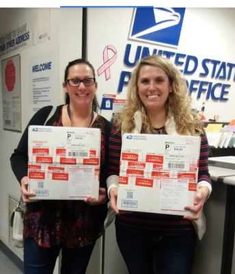 Mrs. Aguilera & Mrs. Thompson sending the care packages to troops.
