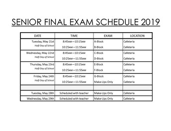 MAKE-UPS ONLY: Senior Final Exams