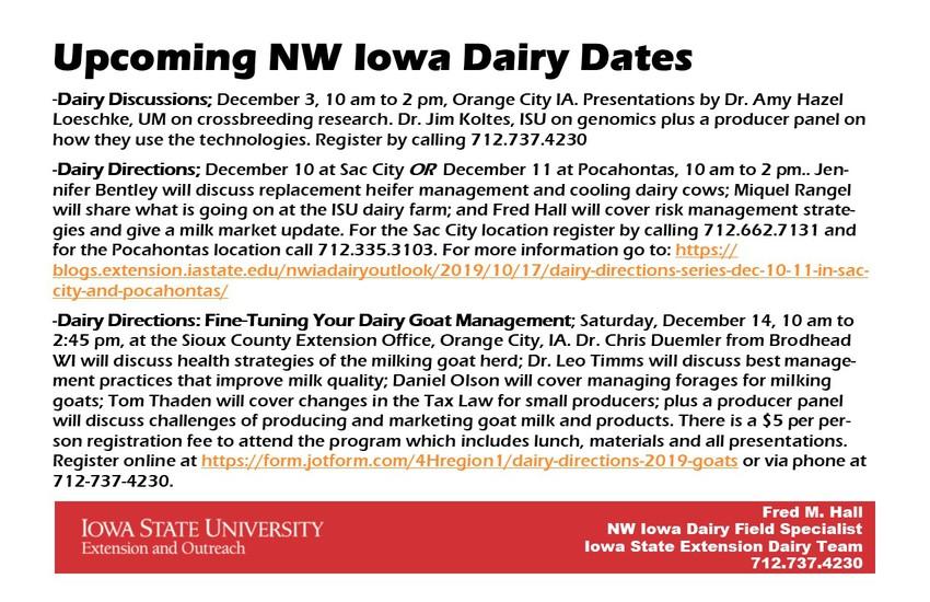 Upcoming NW Iowa Dairy Dates