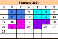 Specials Calendar for February