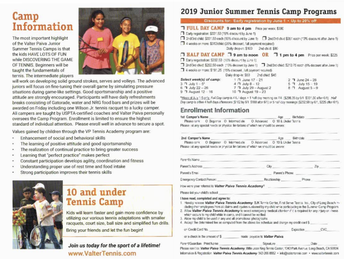 Tennis Camp Registration Info
