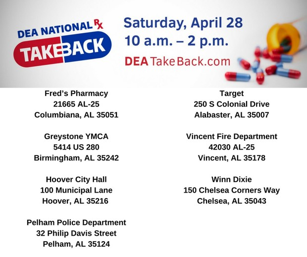 Medication Take Back Day and Locations- See Article Text for Locations and Times