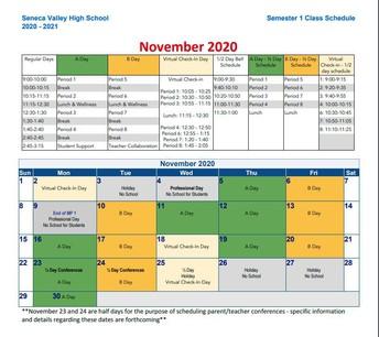REMINDER: November Calendar Changes