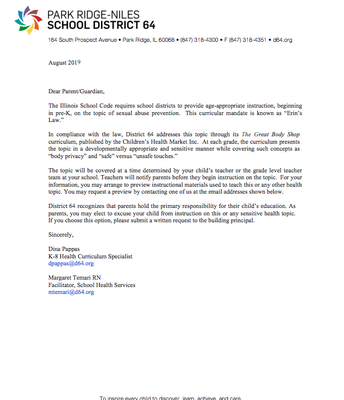 Health Curriculum Parent Letter