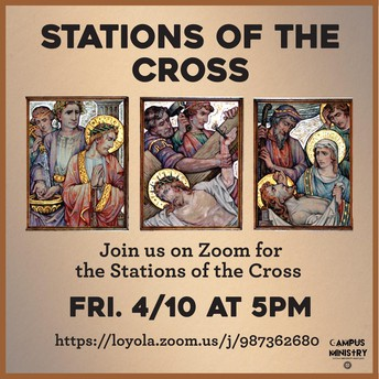 Poster with brown background and 3 gilded medieval style drawings depicting the crucifixion of Jesus