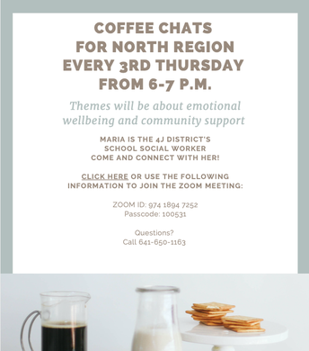 Coffee Chats for North Region every 2nd Thursday