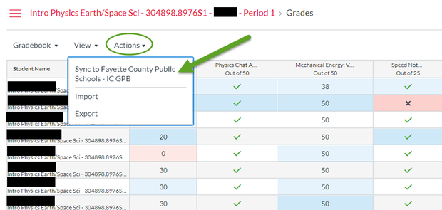 Screenshot of Canvas Gradebook Sync function