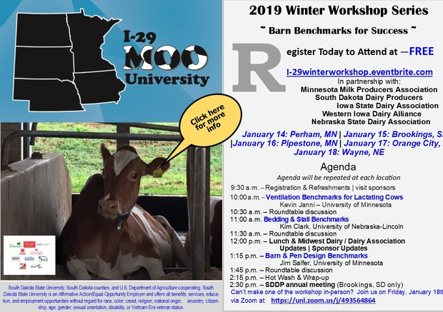 I-29 Moo University Winter Workshop Series Barn Benchmarks for Success Postcard