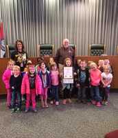 Mrs. Smith and class at City Hall