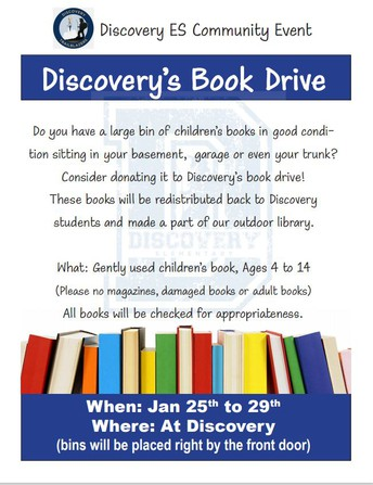 Discovery's Book Drive coming next week
