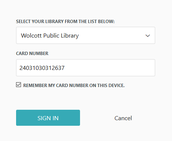 "Type in your library card number and click ""Sign in."""